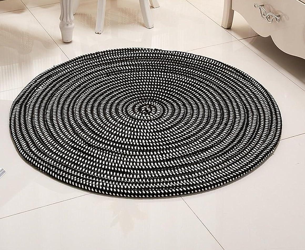 道に迷いましたリム流暢GRJH? ラウンドカーペット、ロープシリーズラウンドカーペットコンピュータクッションバスケットパッドリビングルームのベッドルームカーペットを吊るす 帯電防止 ( 色 : ブラック , サイズ さいず : Diameter 150cm )