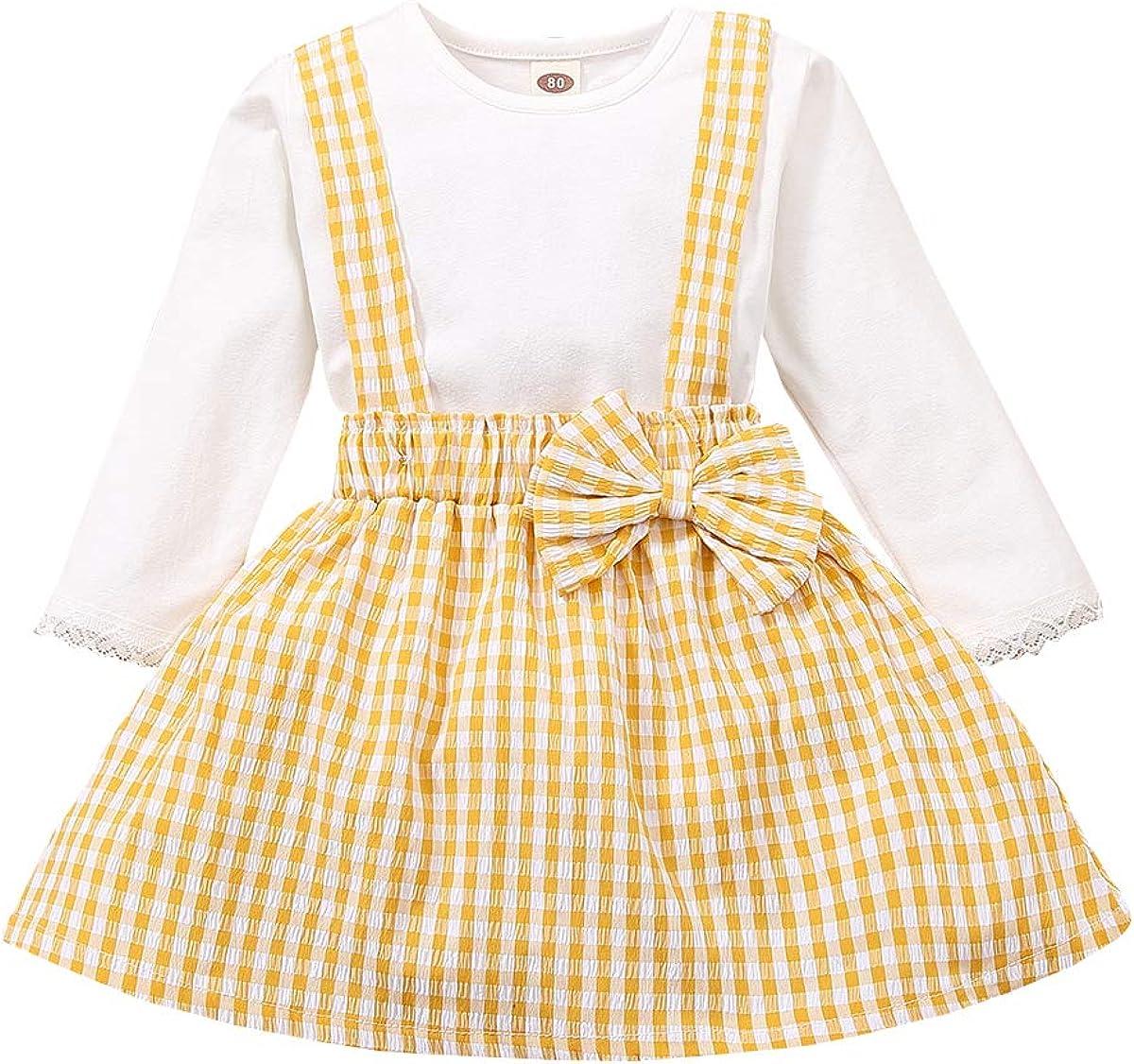 Infant Toddler Baby Girl Suspender Skirt Set Cotton Solid T ShirtsPlaid Overall Skirts Set Baby Girl Skirt Clothes Set