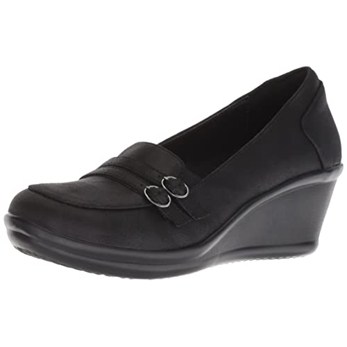b4ee1372cdd1 Skechers Women s Rumblers-Frilly-Wedge Heeled Dressy Casual Double Buckle  Loafer Pump