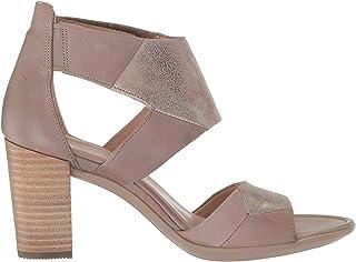 ECCO Women's Women's Shape 65 Block Ankle Strap Heeled Sandal, Dune/Moon Rock, 41 M EU (10-10.5 US)