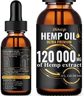 Hemp Oil Drops 120 000 mg, Co2 Extracted, Made in USA, Help Reduce Stress, Anxiety and Pain, 100% Natural Ingredients, Vegan Friendly, GMO Free