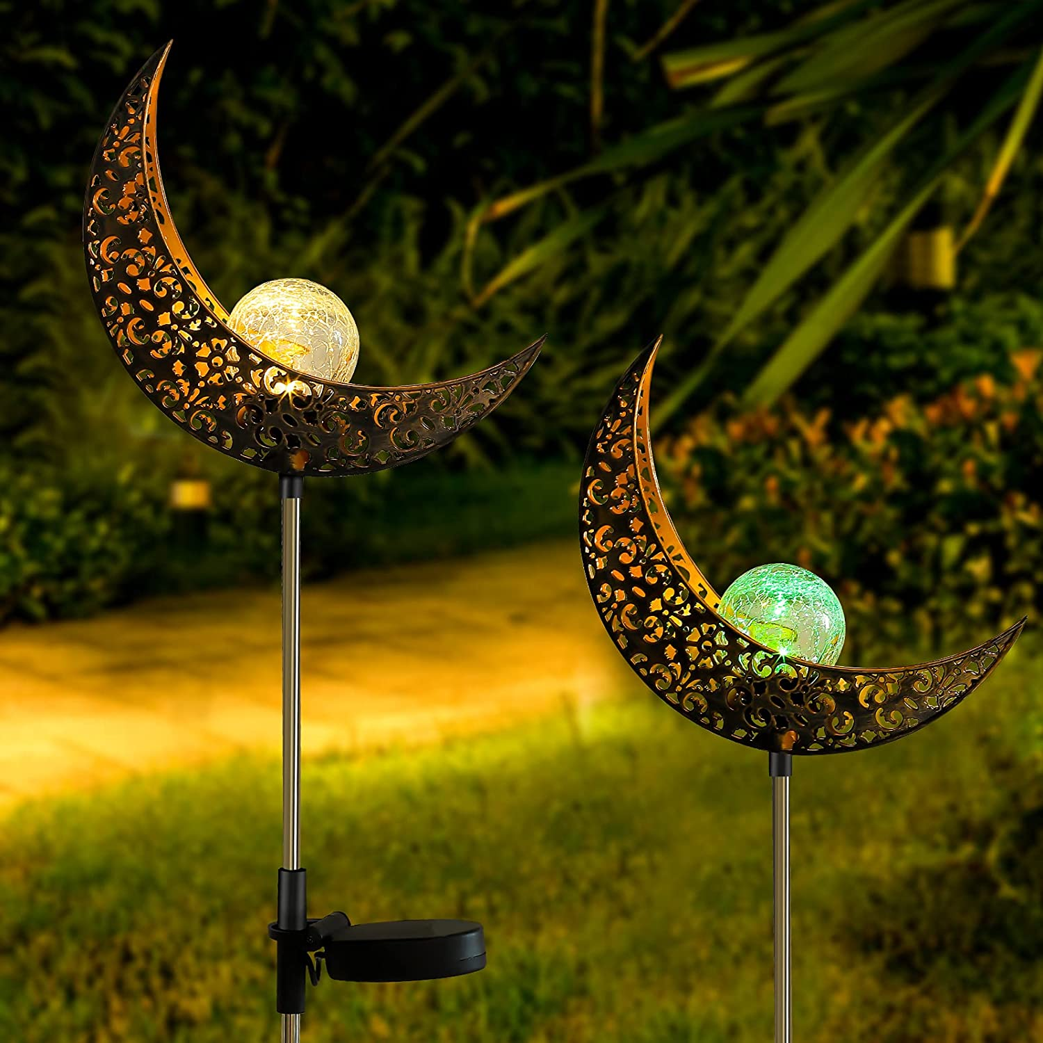 INSOME 2 Pack Stars Moon Solar Fees free!! Outdoor - Ga Lights Powered Max 68% OFF