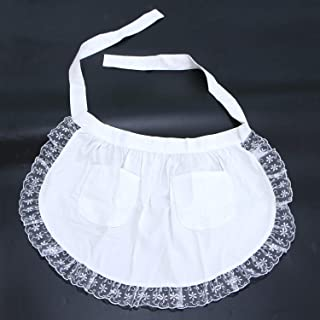 Monrocco White Lace Flower Cotton Half Apron Kitchen, Half Waist Apron with Pocket Victorian Maid Costume for Women