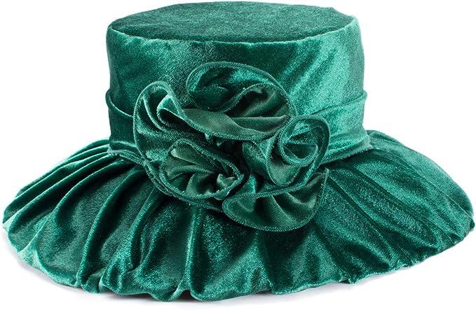 1920s Hat Styles for Women – History Beyond the Cloche Hat Lawliet Womens Kentucky Derby Formal Wide Brim Church Dress Wedding Velvet Hat A389  AT vintagedancer.com