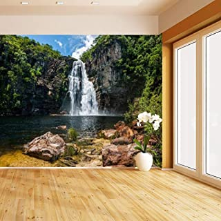 HIMURAL Salto 80m Waterfall in Chapada dos Veadeiros, Goias, Brazil Self Adhesive Peel and Stick Wallpaper Self Stick Mural Photos Home Wall Paper Sticker Wall Mural Decals Fresco Posters Removable