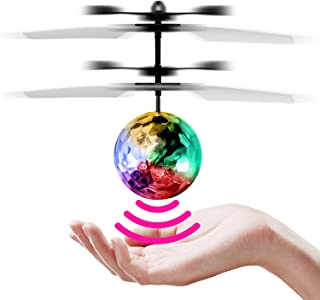 StillCool Flying Ball Children Flying Toys Infrared Induction Drone Hand Suspension Helicopter Ball Built-in Shinning LED Lights Toy for Children Kids Teenagers (Transparent Ball)