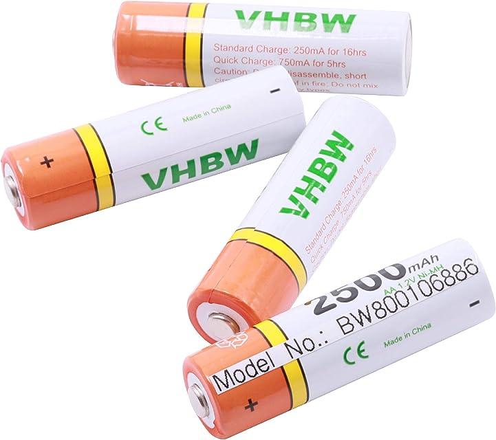 vhbw 4 x AA Mignon HR6 LR6 batería 2500mAh para Panasonic Lumix DMC-LS80 DMC-LS85 DMC-LS86 DMC-LZ1 DMC-LZ2 DMC-LZ3 DMC-LZ4