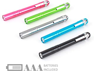 SEAMAGIC 5-Pack LED Penlight - Pocket Pen Flashlight with Clip, 10-Piece Dry Batteries Included