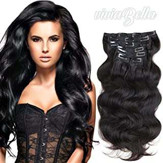 Prime Long 28 Inch Brazilian Wavy Clip ins Real Human Hair Body Wave Clip in Hair Extensions Human Hair Full Head Brazilian Virgin Hair Double Weft 7Peices/set (200g 28