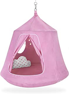 Best Choice Products Kids Indoor & Outdoor Hanging Hammock Swing Tent Set w/Multicolor LED String Lights - Pink