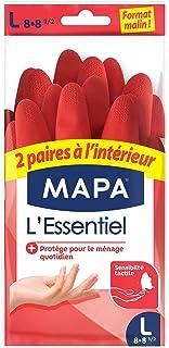 Mapa L'Essentiel Huishoudelijke handschoenen van natuurlijk latex, binnenkant katoen, zacht, maat L, 1 stuk