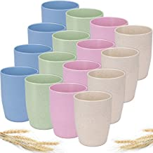Nicunom 16 Pack Eco-friendly Unbreakable Drinking Cup Set, 13oz Reusable Wheat Straw Biodegradable Healthy Tumbler Cup for...