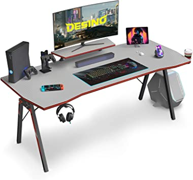 DESINO Gaming Desk 55 inch PC Computer Desk, Home Office Desk Table Gamer Workstation with Cup Holder and Headphone Hook, Gra