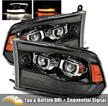 AlphaRex Smoke Black For 09-18 Ram 1500/10-18 Ram 2500/3500 Top and Bottom DRL/Switchback Sequential Signal Dual Projector Headlights