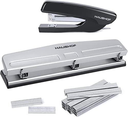 popular HAUSHOF discount Desktop Stapler high quality and 3-Hole Punch Set with 5000-Piece Staples and Staple Remover, Office Supplies Compatible with 26/6 and 24/6 Staples sale