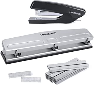 HAUSHOF Desktop Stapler and 3-Hole Punch Set with 5000-Piece Staples and Staple Remover, Office Supplies Compatible with 2...