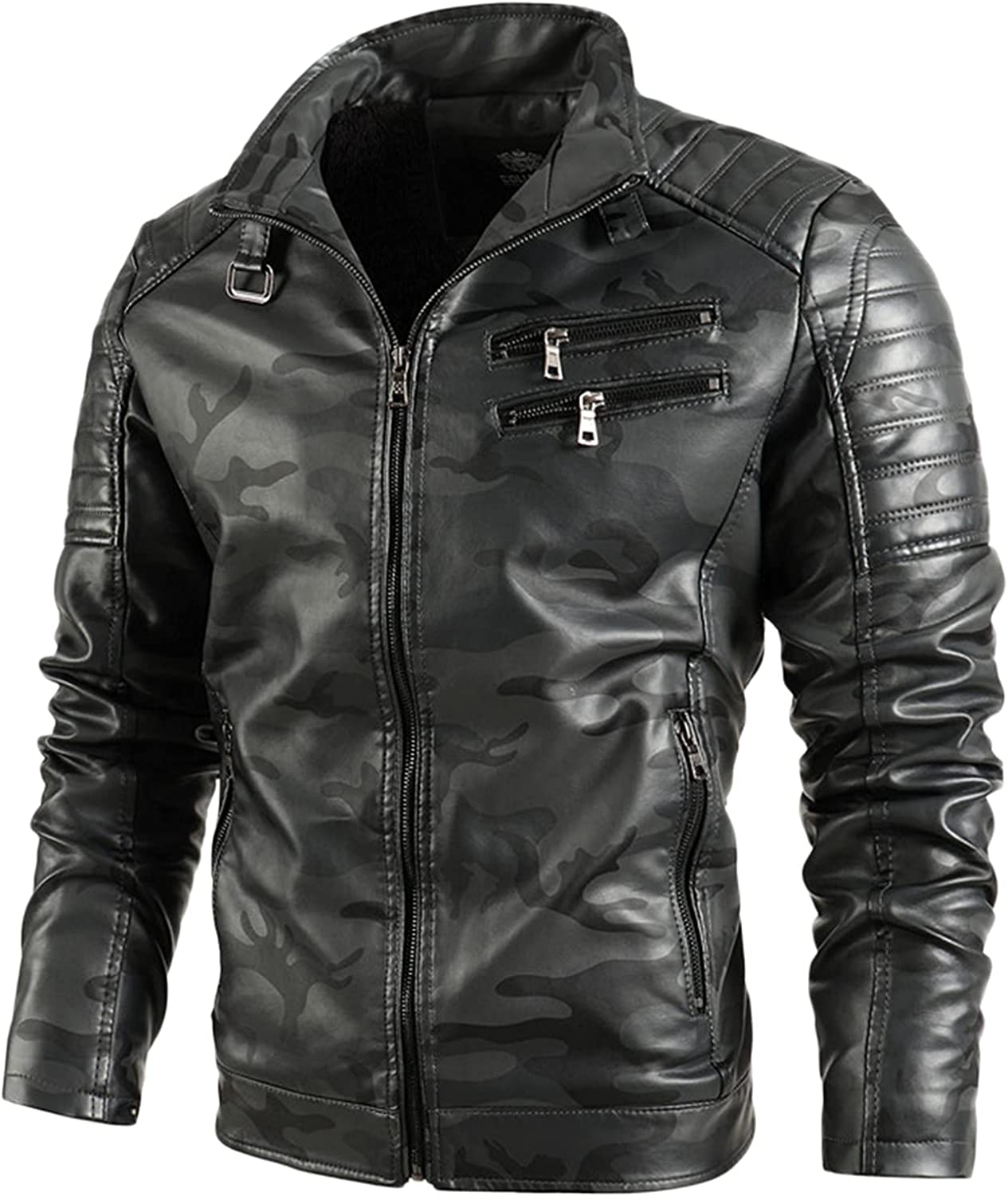 Mens Leather Jacket Slim Fit Stand Collar PU Motorcycle Jacket Lightweight Coat Outwear