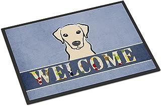 "Caroline's Treasures BB1408MAT Yellow Labrador Welcome Indoor or Outdoor Mat, 18 x 27"", Multicolor"