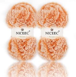 NICEEC 2 Skeins Super Soft Fur Yarn Chunky Fluffy Faux Fur Yarn Eyelash Yarn for Crochet Knit-Total Length 2×32m(2×35yds,50g×2)-Orange