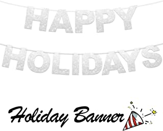 Happy Holidays Banner -Silver Foiled for Free Holidays Party Decorations Bunting