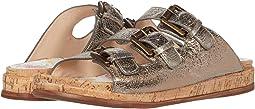 Gold Croc Print Brush-Off Leather