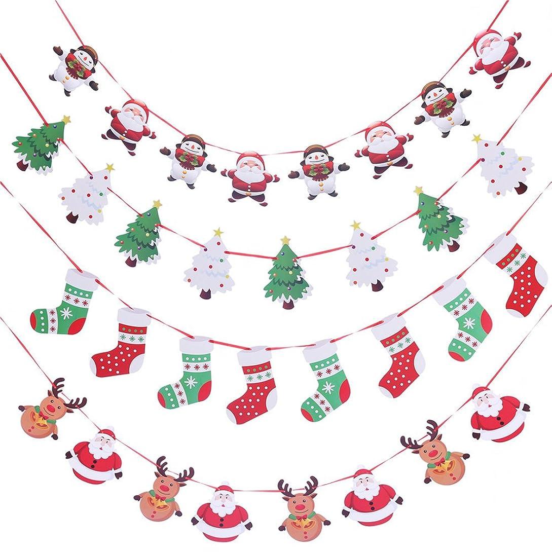 石のコンバーチブル風刺live foreverクリスマス 飾り 紙 4点セット クリスマスツリ 靴下 サンタ エルク (クリスマス飾り)