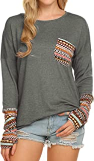 Women's Long Sleeve Tops O-Neck Patchwork Casual Loose T-Shirts Blouse Tunic Tops with Thumb Holes