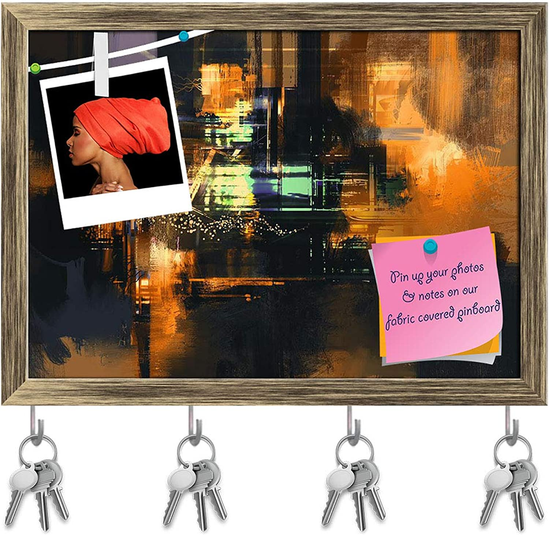 Artzfolio Abstract Artwork D226 Key Holder Hooks   Notice Pin Board   Antique golden Frame 16.5 X 12Inch