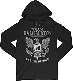 Team Halliburton Lifetime Member Family Surname Long Sleeve Hooded T-Shirt for Families with The Halliburton Last Name