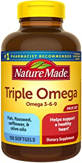 Nature Made Triple Omega 3-6-9, 150 Softgels Value Size, Omega Supplement For Heart Health