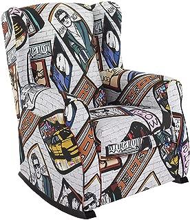 HOGAR TAPIZADO Sillón Relax, Orejero BALSA (Especial para Lactancia) tapizado en Tela Estampada Carteles New York Pop 100 x 72 x 74