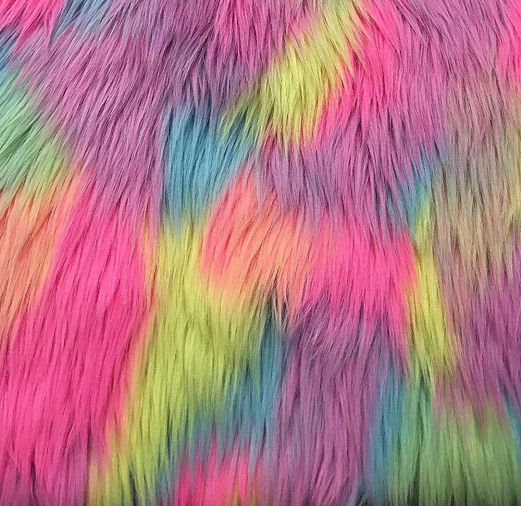 FabricLA Pastel Patch Rainbow Shaggy Fur Fabric by The Yard