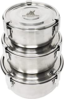 PREMIUM Stainless Steel 3-Piece Food Storage Containers with Leak-Proof Lids & Heavy-Duty Airtight Clips | 304 Enhanced Steel | Eco-Friendly & Safe | Ideal for Leftovers, Lunches, Camping