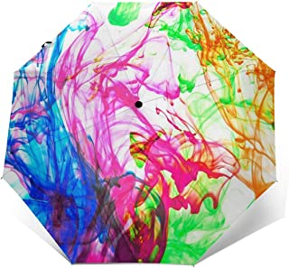 Colorful Abstract Watercolor Paints Automatic Umbrella Long Lasting Wind-Proof&Water-Proof Travel Umbrella Ultra Strong&UV Rays Protect Tri-fold Sun Umbrellas for Women Men Outdoor
