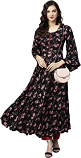 Tissu Women's Black Floral Printed Kurta With Pyjamas