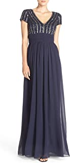 JS Collections Women's Cap-Sleeve Beaded Chiffon Gown Navy 6