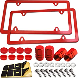 Red License Plate Frames- Stainless Steel Car Tag Holder, Slim Custom Bling Front & Rear Brackets For US Vehicles, Cute Car Accessories for Women , with Screws, Caps, Tire Valve Covers, 2 Pack 4 Holes