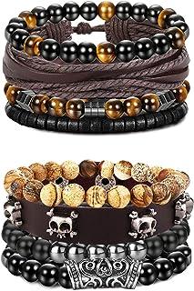 FIBO STEEL 10 Pcs Braided Leather Bracelets for Men Women Wrap Tiger Eye Lava Rock Beads Bracelet Woven Ethnic Tribal Rope...