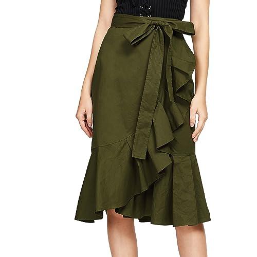 254d11d2f649e Verdusa Women's Self Tie Flounce Trim Wrap Skirt