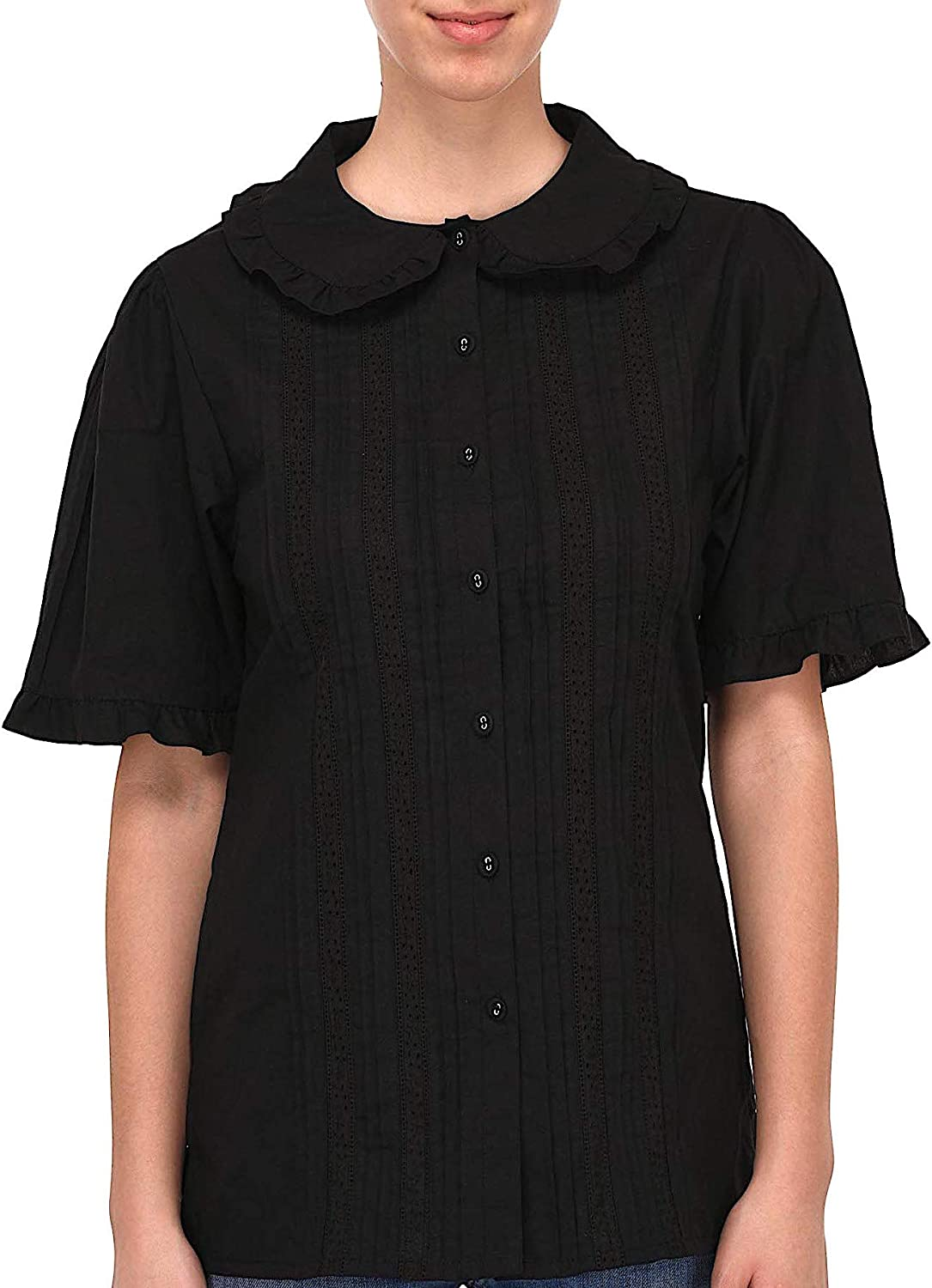 Cotton Lane Plus Size Black Cotton Peter Pan Collar Blouse