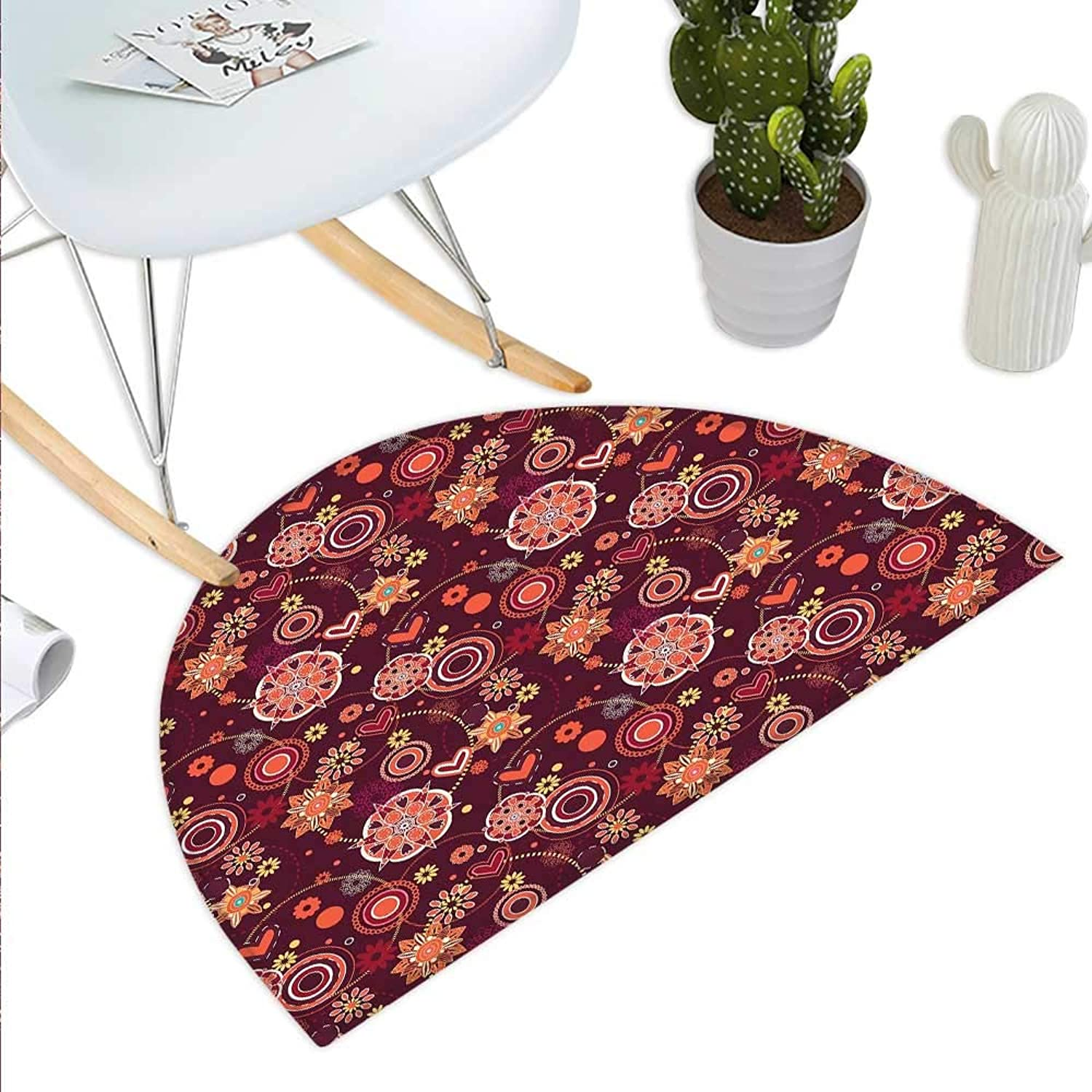 Red and Brown Semicircle Doormat Vintage Rich Foliage Pattern Ornamental Spring Flowers and Circles Halfmoon doormats H 35.4  xD 53.1  Maroon orange Yellow
