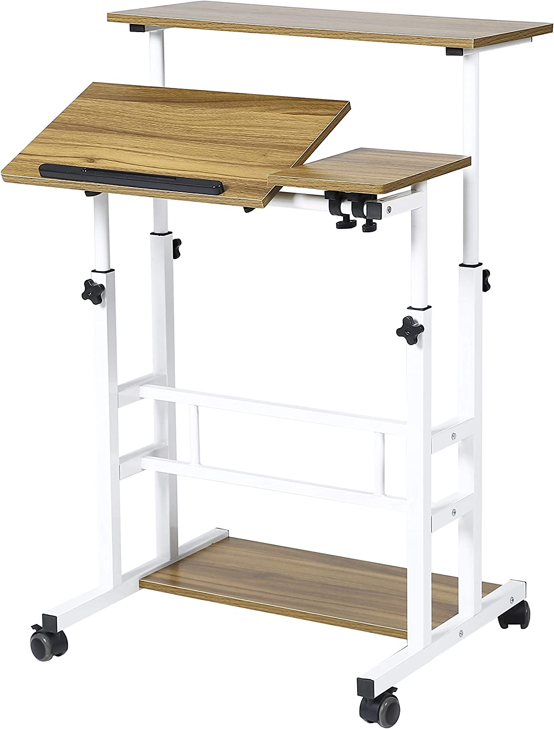 UNICOO- Height Adjustable Sit Stand Workstation, Mobile Standing Desk, Rolling Presentation Cart, Stand Up Computer Desk with Dual Surface for Home Office (U101 - Ancient Oak)