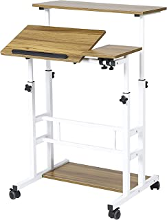 UNICOO- Height Adjustable Sit Stand Workstation, Mobile Standing Desk, Rolling Presentation Cart, Stand Up Computer Desk with Dual Surface for Home Office U101 (Ancient Oak)