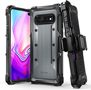 Vena (vArmor) Galaxy S10 Plus Holster Case, Rugged Military Grade Heavy Duty Case with Belt Clip Swivel Holster and Kickstand, Compatible with Galaxy S10 Plus (Space Gray – Black)
