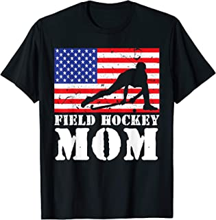 USA American Distressed Flag Field Hockey Mom Women For Her T-Shirt