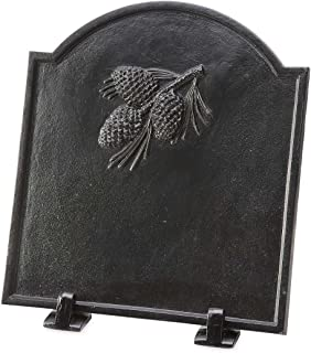 Wind & Weather 66A88 Cast Iron Fireback with Pine Cone Design, Black
