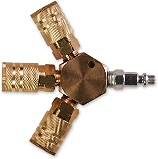 Primefit M1406-5 3-Way Hex Style Air Manifold with Industrial 6-Ball Brass Couplers, 1/4