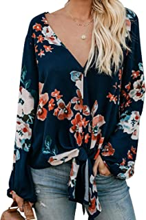 Silindashop Women V Neck Flowy Oversized Chiffon Balloon Sleeve Top Blouse Shirt