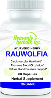 Rauwolfia Capsules, Organic Herbal Supplement – Rauvolfia Serpentina Blend | Ayurvedic Herb & Natural Remedy | Natural Blood Pressure Support, Cardiovascular Health Aid– 60 Ct. by Heavenly
