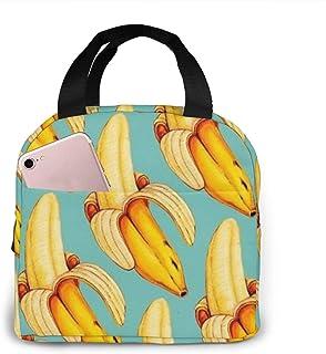 N\A Bananes Motif imprimé Sacs à Lunch boîte à Lunch Adulte isolée pour Femmes Adultes Travail collégial Pique-Nique rando...